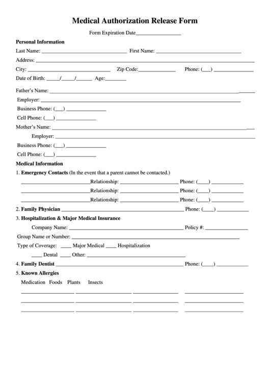 Medical Authorization Release Form Printable pdf