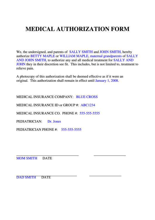Medical Authorization Form Printable pdf