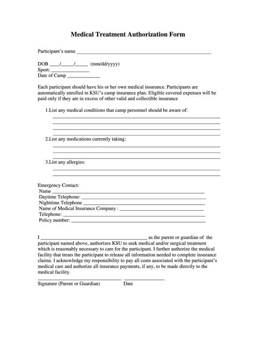 Medical Treatment Authorization Form Printable pdf