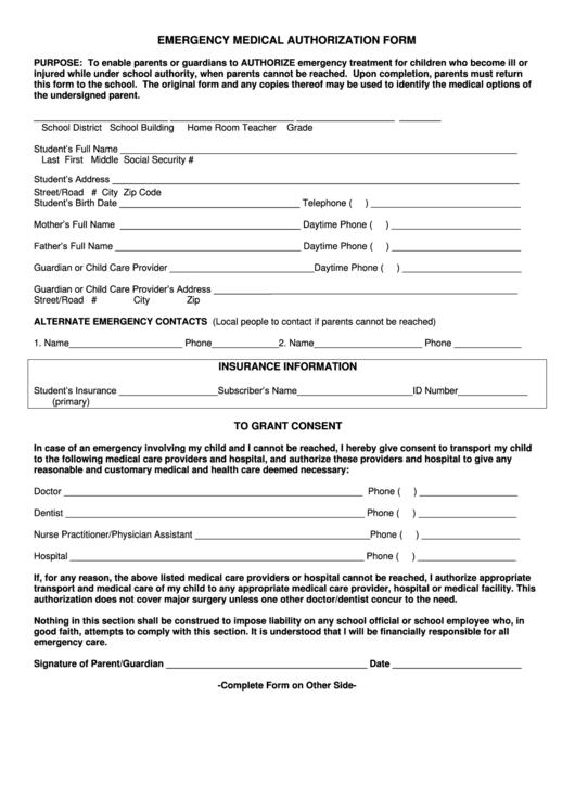 Emergency Medical Authorization Form Printable pdf