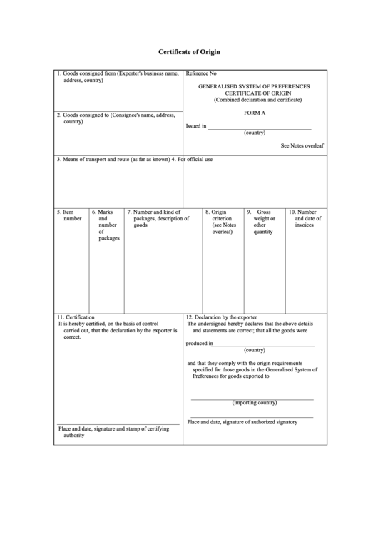Form A - Certificate Of Origin With Notes printable pdf ...