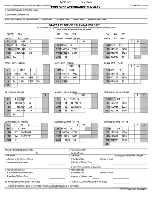 employee attendance summary sheet printable pdf download
