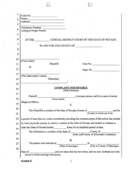 Fillable Complaint For Divorce With Children Printable pdf