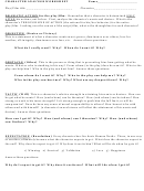 Character Analysis Worksheet And Explanation
