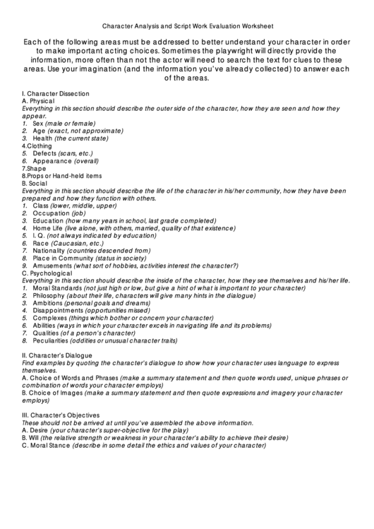 Character Analysis And Script Work Evaluation Worksheet Printable pdf
