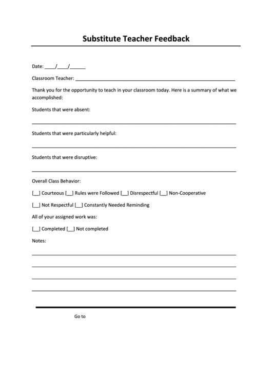 substitute teacher feedback printable pdf download