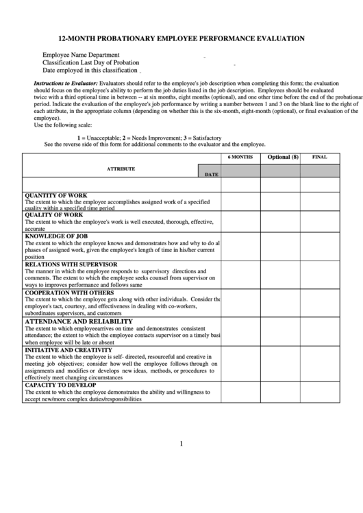 12-month Probationary Employee Performance Evaluation Form