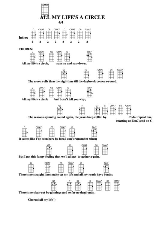All My Lifes A Circle Chord Chart Printable Pdf Download