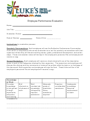 Employee Performance Evaluation Form With Instructions