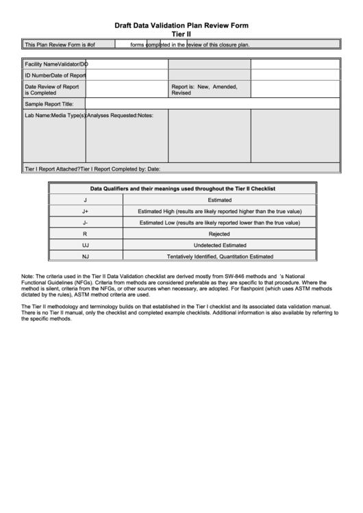 Draft Data Validation Plan Review Form Printable pdf