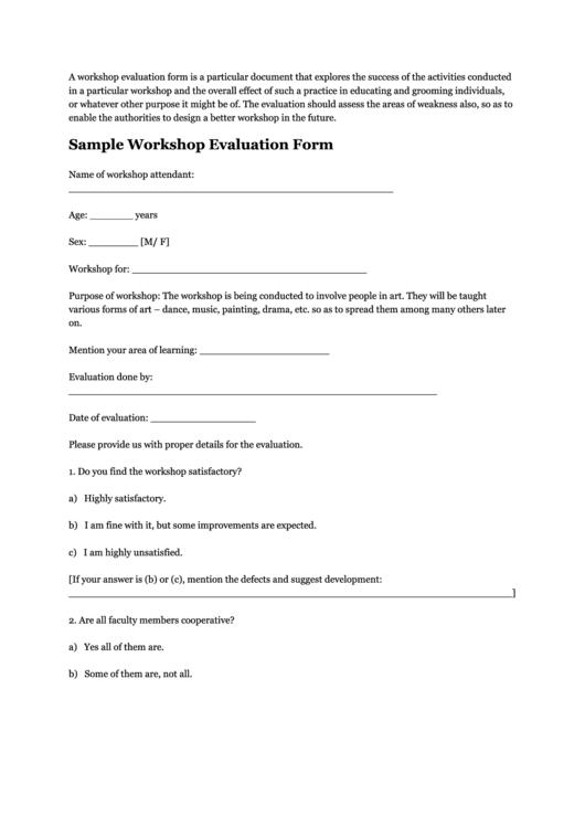 sample workshop evaluation form printable pdf download