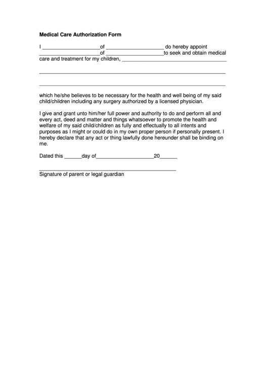 Medical Care Authorization Form Printable pdf