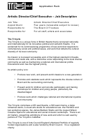Artistic Director/chief Executive - Job Description