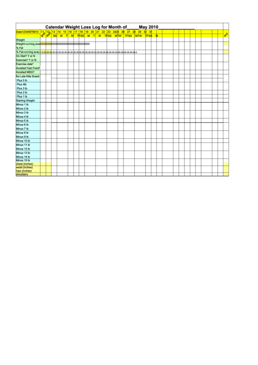 weight loss tracking sheet