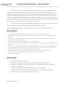 Technical Project Manager - Job Description