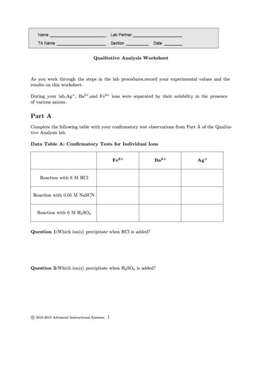 Qualitative Analysis Worksheet
