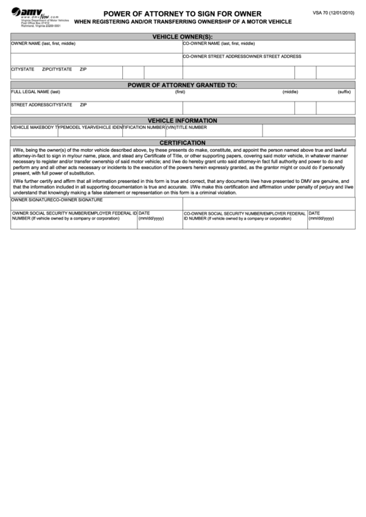 Form Vsa 70 - Dmv Power Of Attorney To Sign For Owner