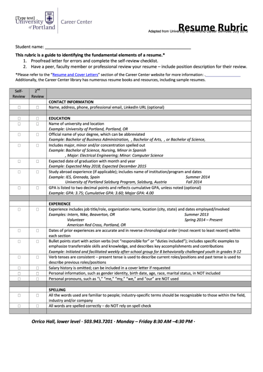resume rubric template printable pdf download
