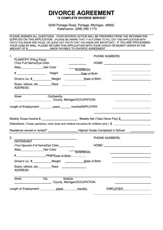 Fillable Divorce Agreement Printable pdf