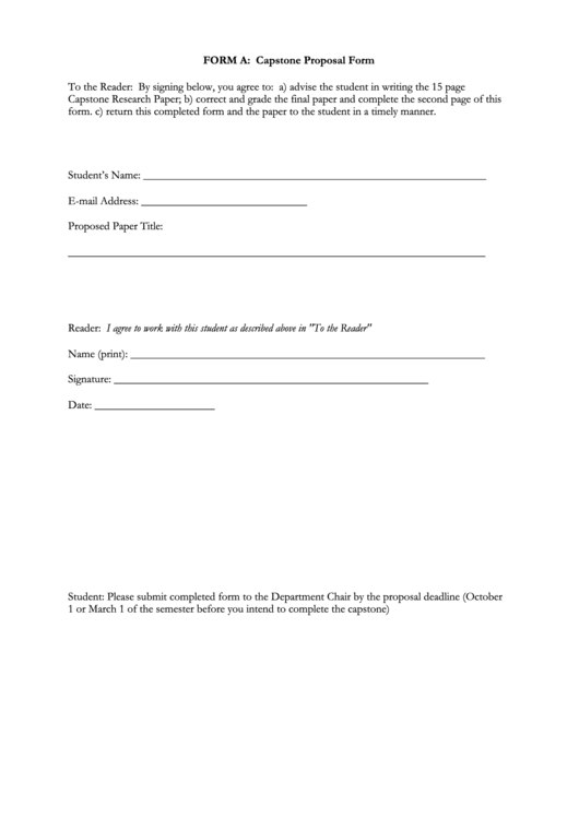 Fillable Form A: Capstone Proposal Form Printable pdf