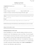 Reading Log Template - Journal