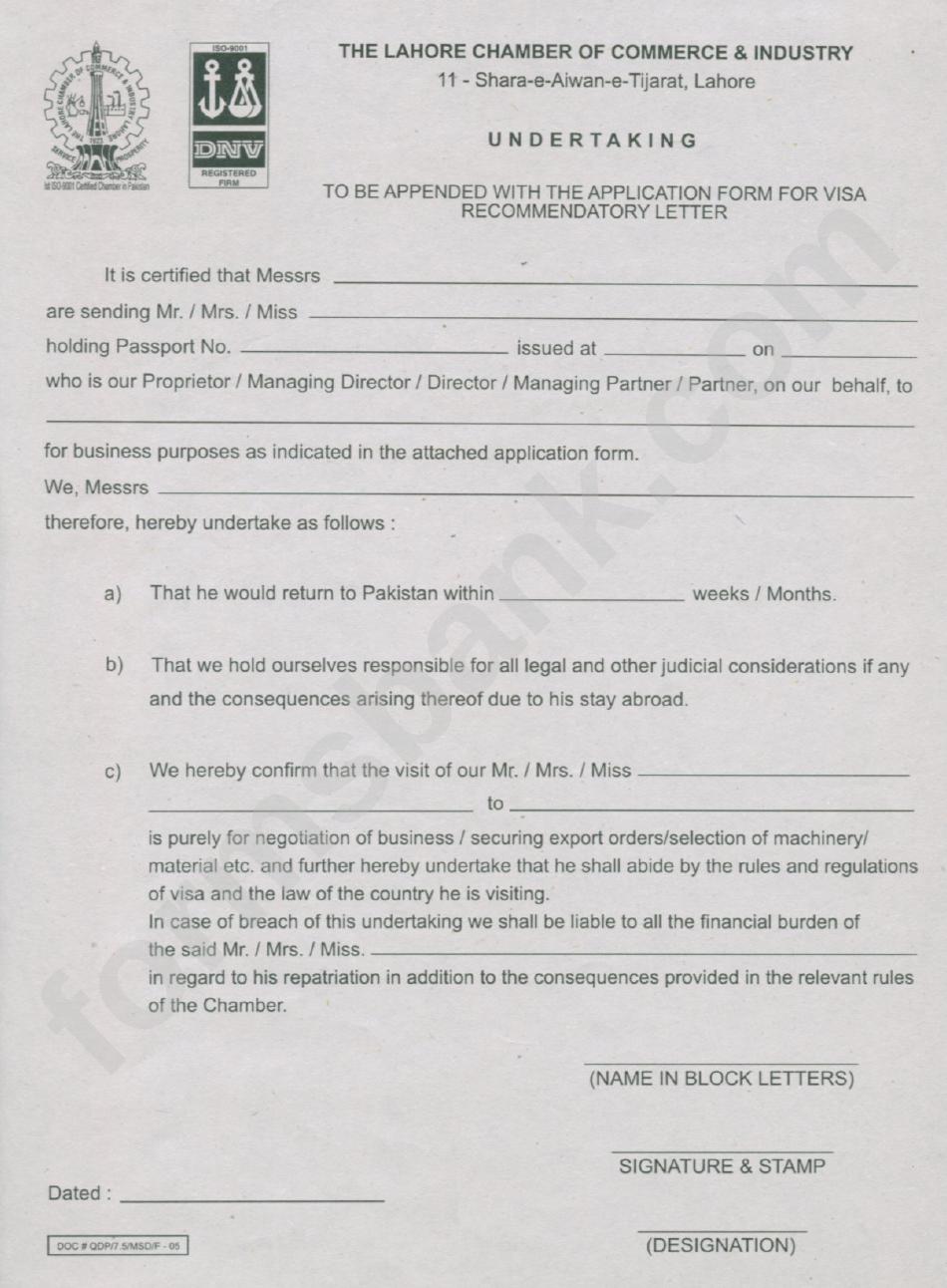 Application For Visa Recommendation Letter