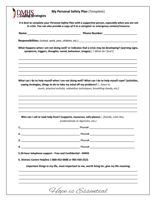my personal safety plan  template  printable pdf download