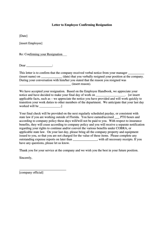Letter To Employee Confirming Resignation