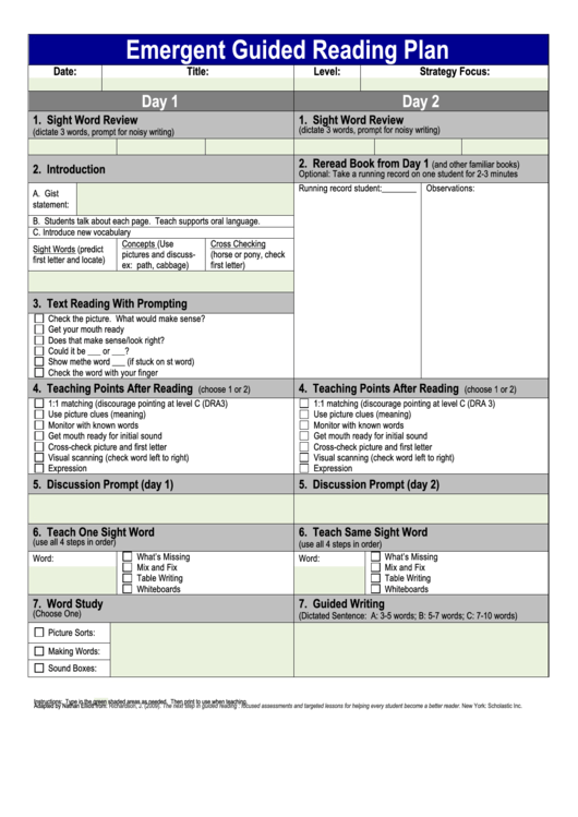 Emergent Guided Reading Plan Printable Pdf Download
