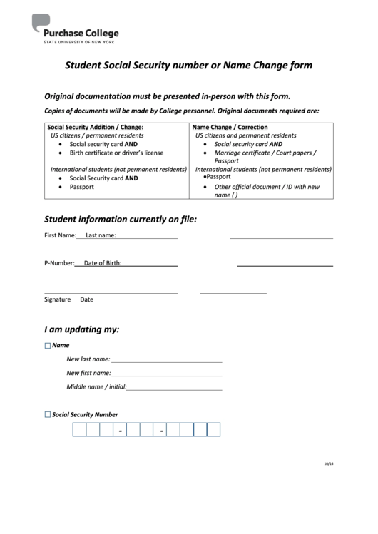 Student Social Security Number Or Name Change Form