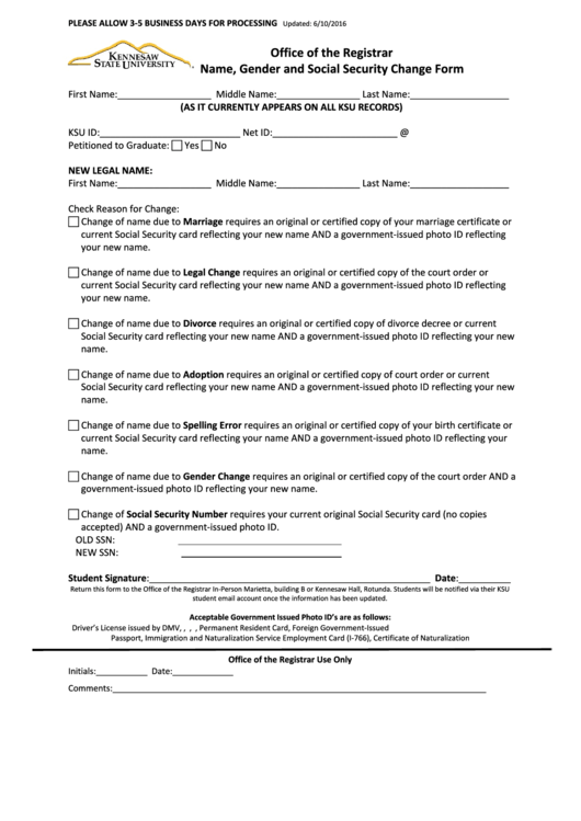 Office Of The Registrar Name, Gender And Social Security Change Form
