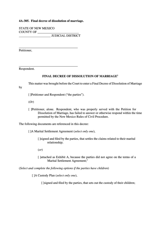 Fillable Final Decree Of Dissolution Of Marriage Printable pdf