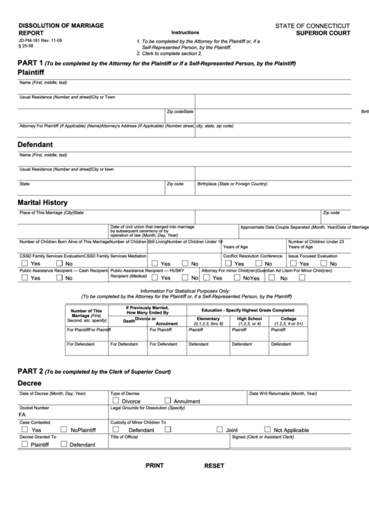Fillable Dissolution Of Marriage Report Printable pdf