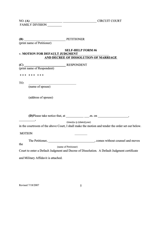 Fillable Motion For Default Judgment And Decree Of Dissolution Of Marriage Printable pdf