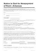 Notice To Quit For Nonpayment Of Rent - Arkansas