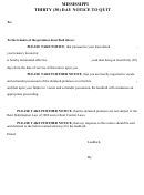 Mississippi Thirty (30) Day Notice To Quit