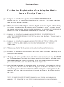 Petition For Registration Of An Adoption Order From A Foreign Country