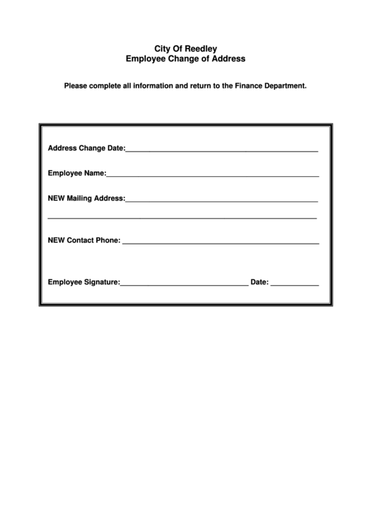 Employee Change Of Address  Free Change Of Address Form