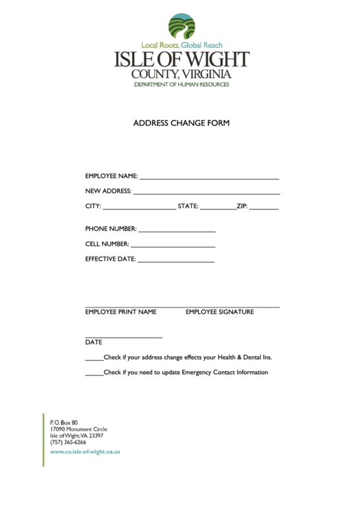 employee change of address form printable pdf download
