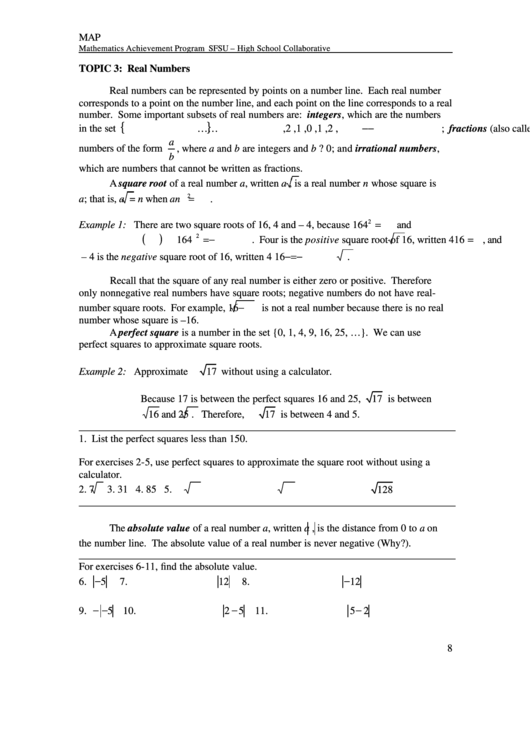 Real Numbers Worksheet