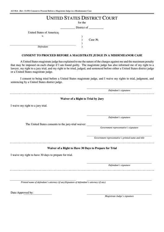 Fillable Consent To Proceed Before A Magistrate Judge In A Misdemeanor Case Printable pdf