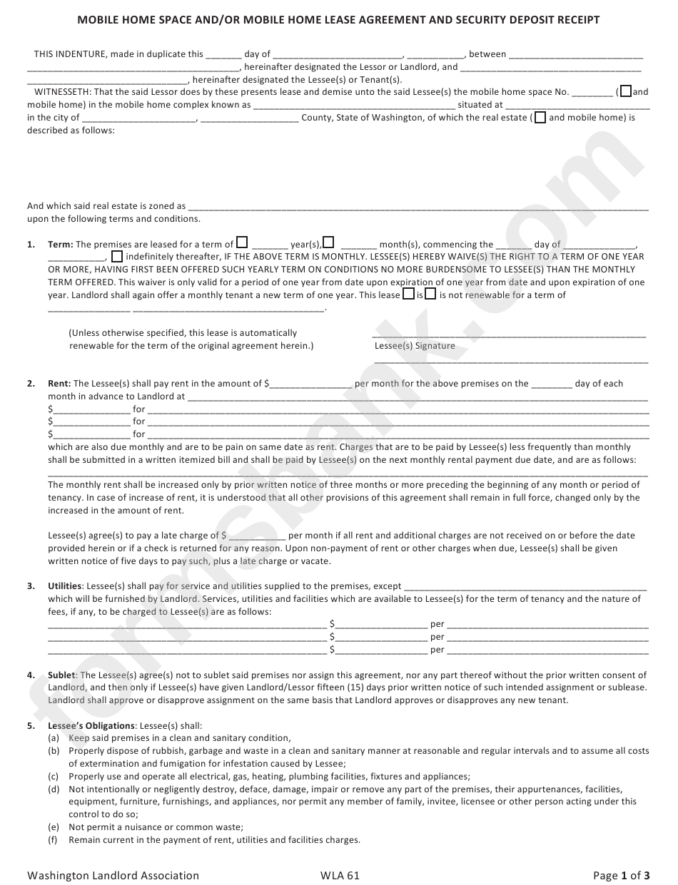 Mobile Gome Space And Mobile Home Lease Agreement Printable Pdf Download