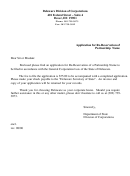 Form Application For Re-reservation Of Partnership Name - Delaware Division Of Corporations