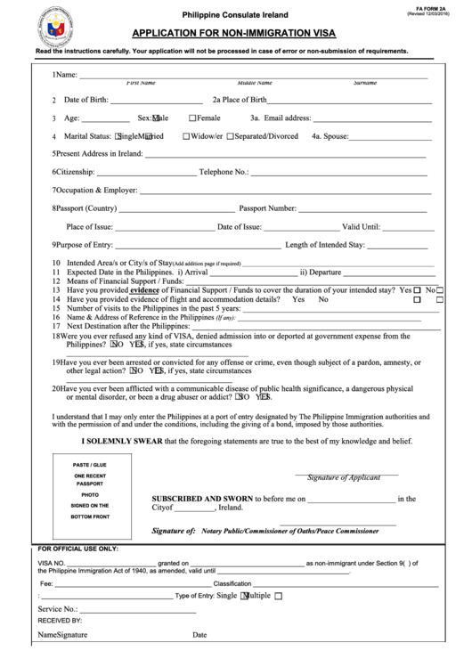 Application For Non-immigration Visa Form