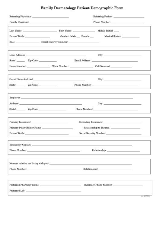 family dermatology patient demographic form printable pdf