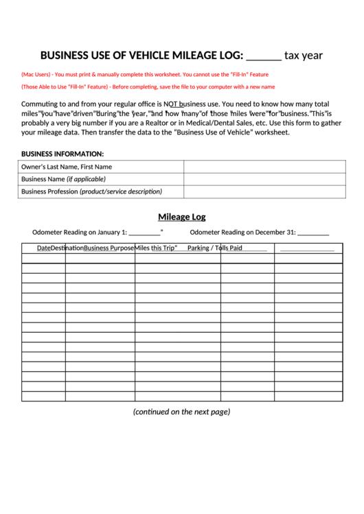 business vehicle mileage log sheet printable pdf download