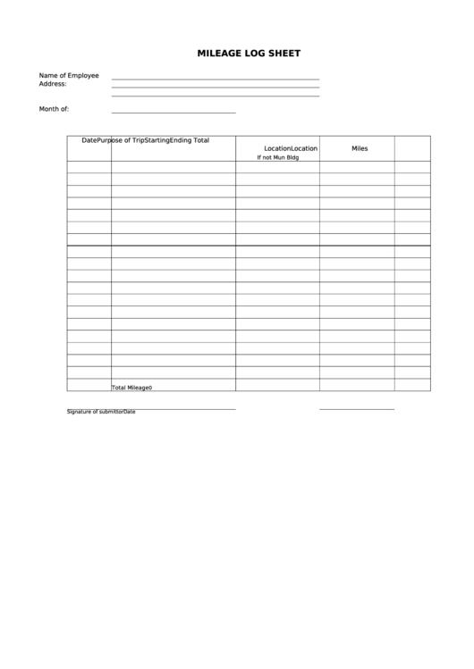 Employee Mileage Log Sheet