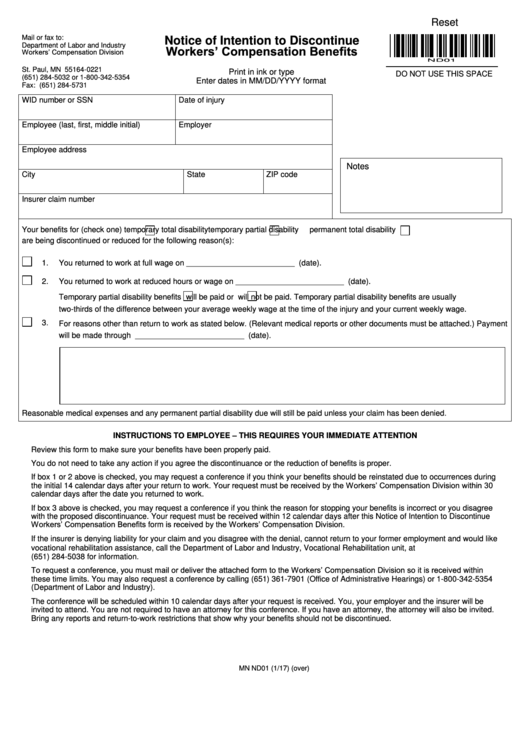 Fillable Notice Of Intention To Discontinue Workers Compensation Benefits Printable pdf