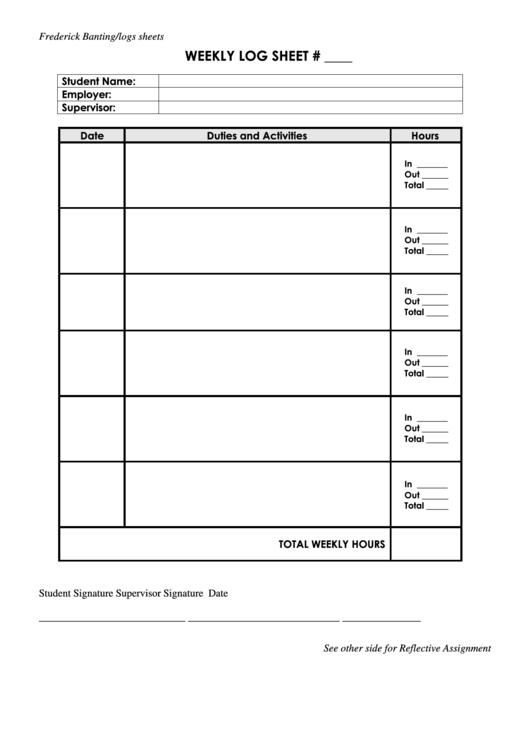 Log Sheet Pdf   Weekly Log Sheet Printable Pdf Download