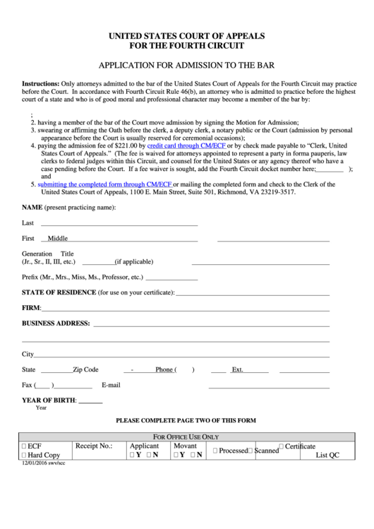 Application For Admission To The Bar